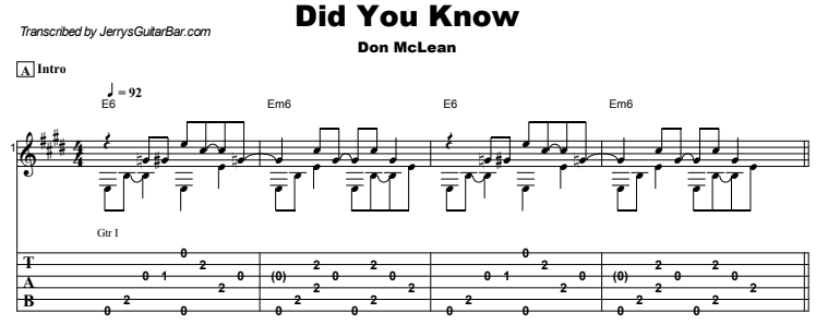 Don McLean - Did You Know Guitar Lesson Tab Preview