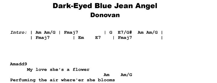 Donovan - Dark-Eyed Blue Jean Angel Guitar Lesson Chords & Songshet Preview