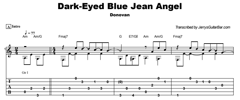 Donovan - Dark-Eyed Blue Jean Angel Guitar Lesson Tab Preview