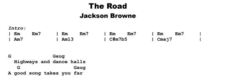 Jackson Browne - The Road  Guitar Lesson Chords & Songsheet Preview