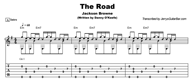 Jackson Browne - The Road  Guitar Lesson Tab Preview