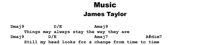 James Taylor - Music Guitar Lesson Chords & Songsheet Preview