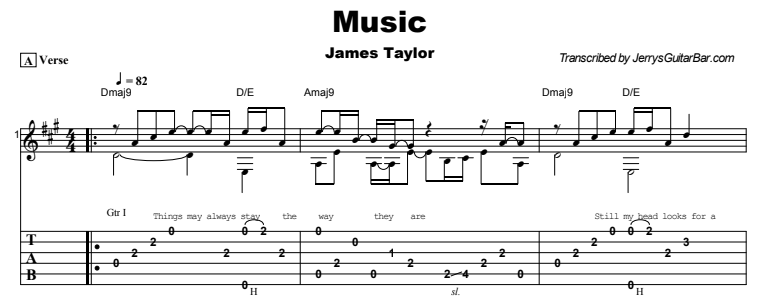 James Taylor - Music Guitar Lesson Tab Preview