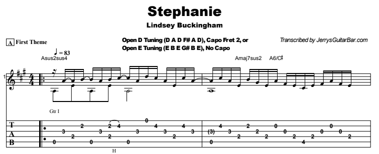 Lindsey Buckingham - Stephanie Guitar Lesson Tab Preview