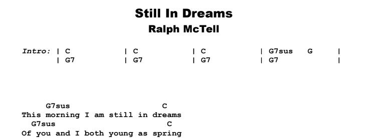Ralph McTell - Still In Dreams Guitar Lesson Chords & Songsheet Preview