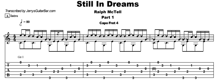 Ralph McTell - Still In Dreams Guitar Lesson Tab Preview