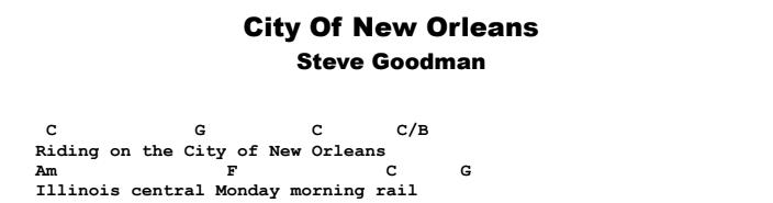 Steve Goodman - City of New Orleans Guitar Lesson Chords & Songsheet Preview
