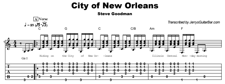 Steve Goodman - City of New Orleans Guitar Lesson Tab Preview