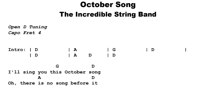 The Incredible String Band - October Song Chords & Songsheet Preview