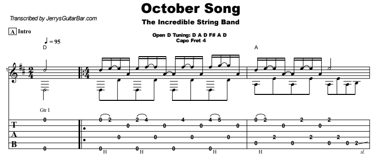 The Incredible String Band - October Song Tab Preview