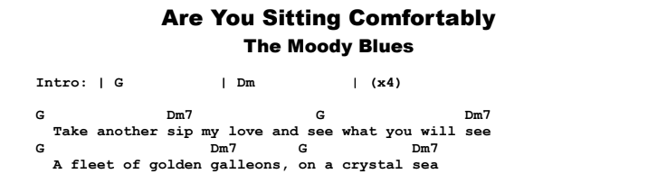 The Moody Blues - Are You Sitting Comfortably Guitar Lesson Chords & Songsheet Preview