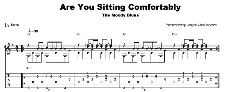 The Moody Blues - Are You Sitting Comfortably Guitar Lesson Tab Preview