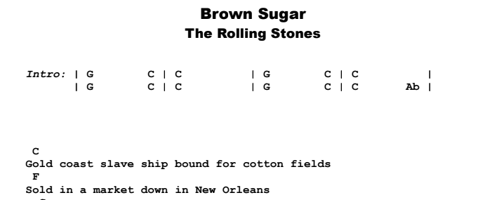 The Rolling Stones - Brown Sugar Guitar Lesson chords & songsheet Preview