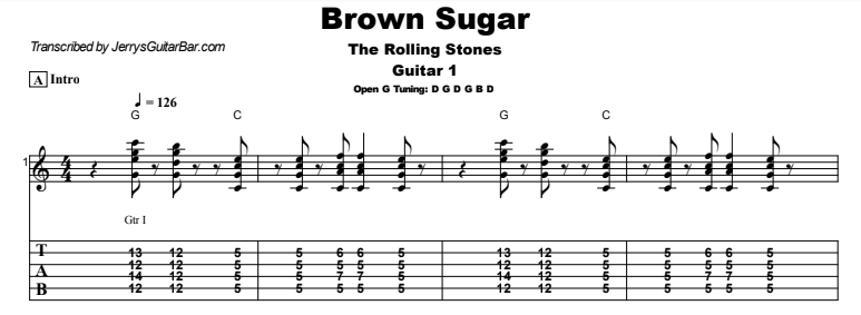 The Rolling Stones - Brown Sugar Guitar Lesson Tab Preview