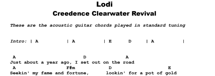 Creedence Clearwater Revival - Lodi Guitar Lesson Chords & Songsheet Preview