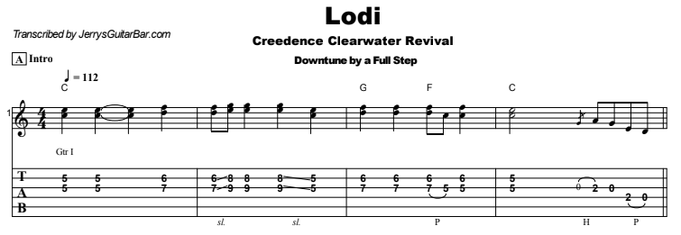 Creedence Clearwater Revival - Lodi Guitar Lesson Tab Preview