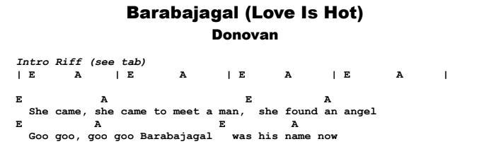 Donovan - Barabajagal Guitar Lesson Chords & Songsheet Preview