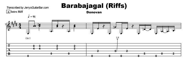 Donovan - Barabajagal Guitar Lesson Tab Preview