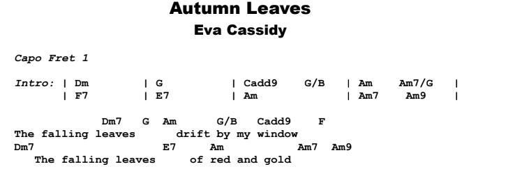 Eva Cassidy - Autumn Leaves Guitar Lesson Chords & Songsheet Preview