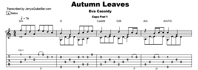 Eva Cassidy - Autumn Leaves Guitar Lesson Tab Preview