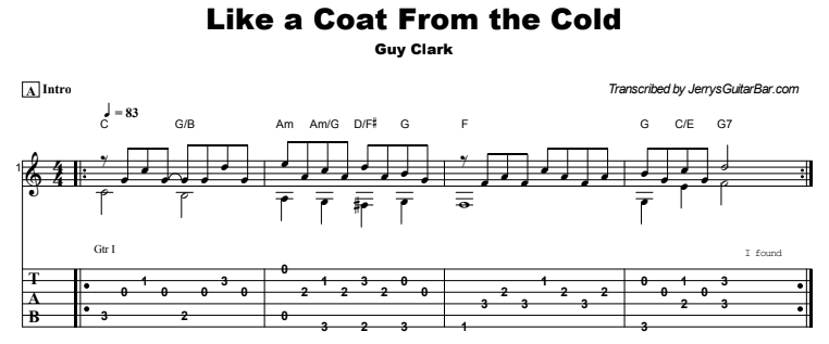 Guy Clark - Like a Coat From the Cold Guitar Lesson Tab Preview