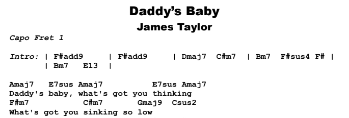 James Taylor - Daddy's Baby Guitar Lesson Chords & Songsheet Preview