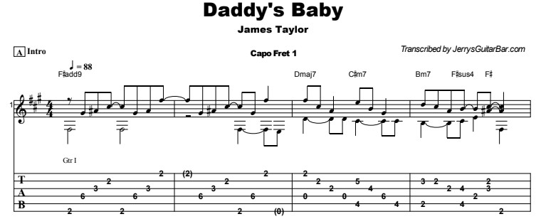 James Taylor - Daddy's Baby Guitar Lesson Tab Preview