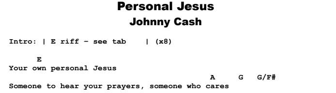 Johnny Cash - Personal Jesus Guitar Lesson Chords & Songsheet Preview