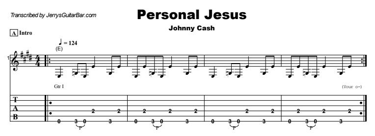 Johnny Cash - Personal Jesus Guitar Lesson Tab Preview