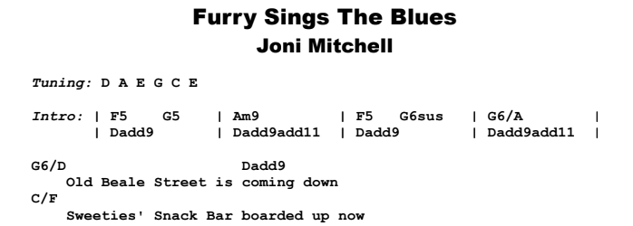 Joni Mitchell - Furry Sings The Blues Guitar Lesson Chords & Songsheet Preview