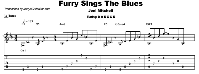 Joni Mitchell - Furry Sings The Blues Guitar Lesson Tab Preview