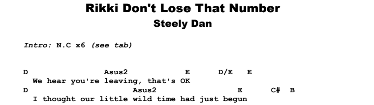 Steely Dan - Rikki Don't Lose That Number Guitar Lesson Chords & Songsheet Preview