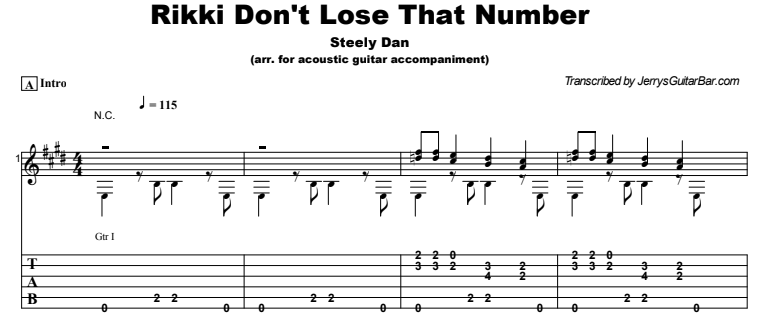 Steely Dan - Rikki Don't Lose That Number Guitar Lesson Tab Preview