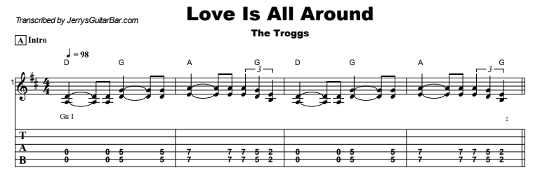The Troggs - Love Is All Around Guitar Lesson Tab Preview