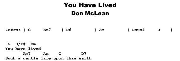 Don McLean - You Have Lived Guitar Lesson Chords & Songsheet Preview