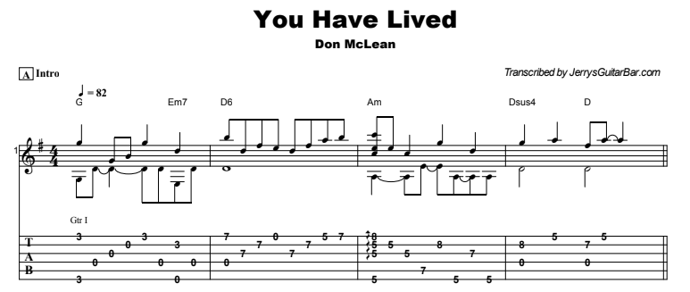 Don McLean - You Have Lived Guitar Lesson Tab Preview
