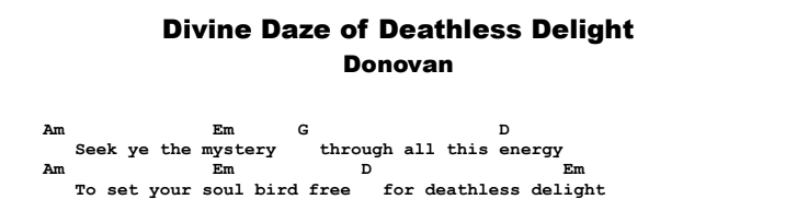 Donovan - The Divine Daze of Deathless Delight Guitar Lesson Chords & Songsheet Preview