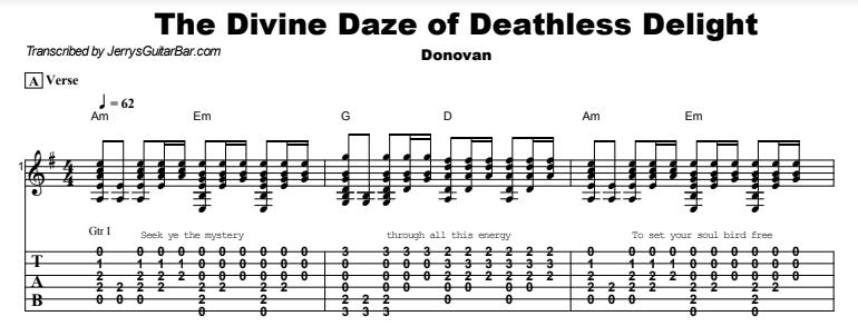 Donovan - The Divine Daze of Deathless Delight Guitar Lesson Tab Preview