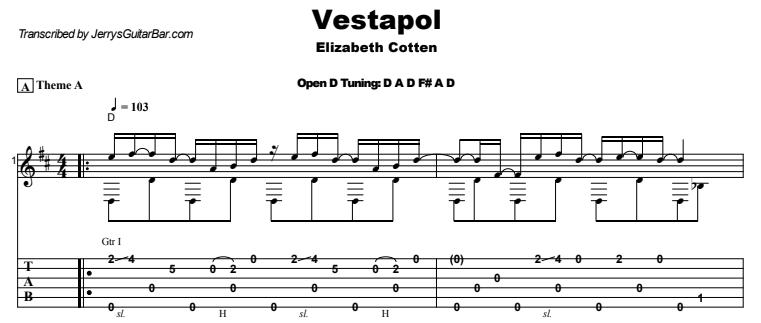 Elizabeth Cotten - Vestapol Guitar Lesson Tab Preview