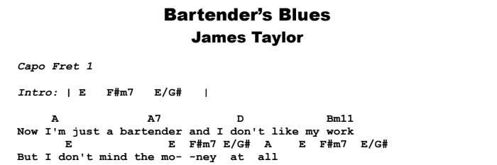 James Taylor - Bartender's Blues Guitar Lesson Chords & Songsheet Preview
