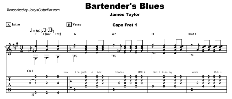 James Taylor - Bartender's Blues Guitar Lesson Tab Preview