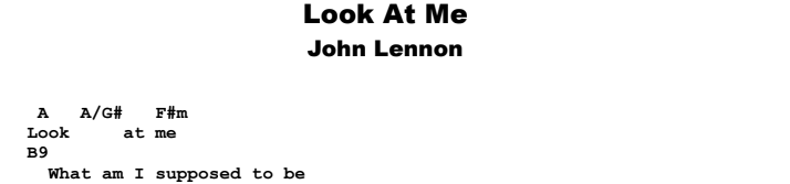 John Lennon - Look At Me Guitar Lesson Chords & Songsheet Preview