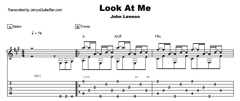 John Lennon - Look At Me Guitar Lesson Tab Preview