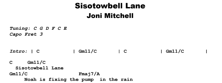 Joni Mitchell - Sisotowbell Lane Guitar Lesson Chords & Songsheet Preview
