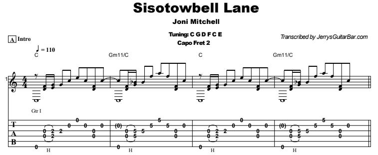 Joni Mitchell - Sisotowbell Lane Guitar Lesson Tab Preview