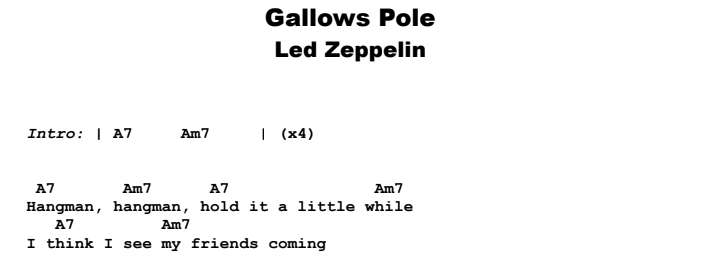 Led Zeppelin - Gallows Pole Guitar Lesson Chords & Songsheet Preview