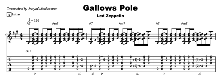 Led Zeppelin - Gallows Pole Guitar Lesson Tab Preview