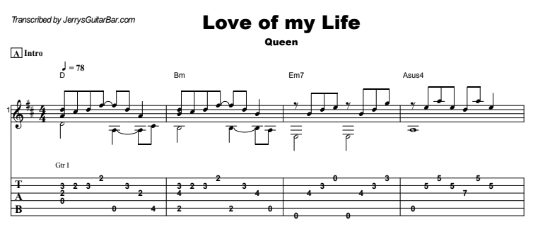 Queen - Love of my Life Guitar Lesson Tab Preview