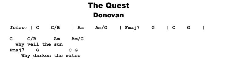 Donovan - The Quest Guitar Lesson Chords & Songsheet Preview