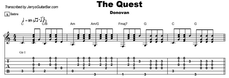 Donovan - The Quest Guitar Lesson Tab Preview